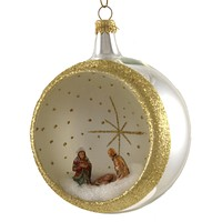 De Carlini 100Mm Round With Nativity Ornament Italian Religious - NA1371 SILVER