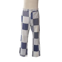 Vintage 60s Polka Dot Patchwork Golf Pants 1960s Voyles St Armands Florida Loud Blue + White Mens Trousers Groovy Leisure Pants / 40 x 30