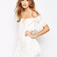 For Love and Lemons Pina Colada Mini Dress with Off Shoulder