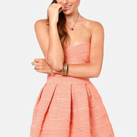 Bell Curves Ahead Strapless Orange Bandage Dress