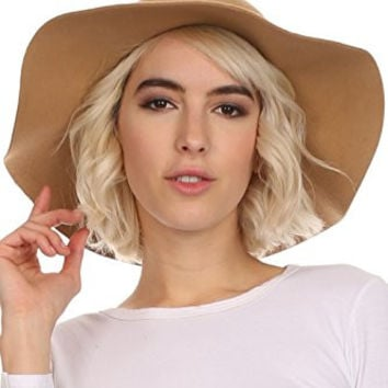 Sakkas WFL2166 - Cosette Womens Wool Structured Wide Brimmed Floppy Hat With Leather Band - Khaki - OS