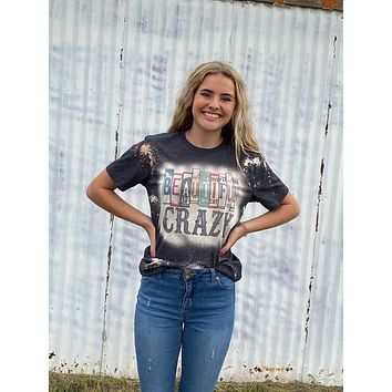 Beautiful Crazy License Plate Bleached Dye Canvas Girlie T Shirt
