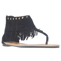 Fringe Studded Cuff Thong Sandals | Wet Seal