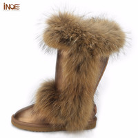 INOE fashion real big fox fur high quality snow boots for women winter shoes cow split leather boots black brown waterproof