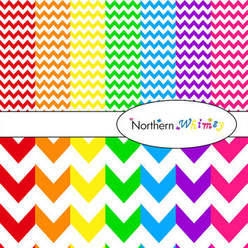 Digital Scrapbooking Paper Background Set – bright rainbow colored 12x12 sheets in small and large chevron zig zag patterns INSTANT DOWNLOAD
