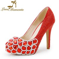 Love Moments women shoes red pumps handmade crystal wedding Bridal shoes women's high heels Dress shoes dress party shoes