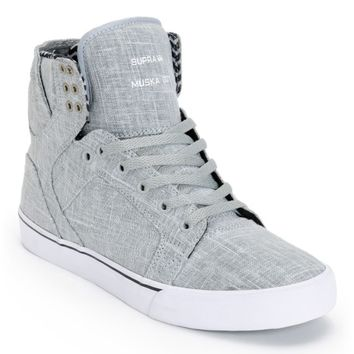 Supra Skytop Grey Linen & White Canvas Skate Shoes