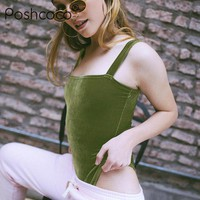 Poshcoco Street Style Sexy Velour Off Shoulder Sleeveless Shaping Body Suit 2017 Summer Slash Neck Camis Women Skinny Bodysuits