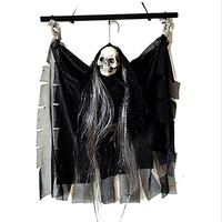 Voice Activated Halloween Skull Skeleton Ghost Hanging Decorate Terrible Scary Ghost with Glowing Red Eyes Haunted House Tricky