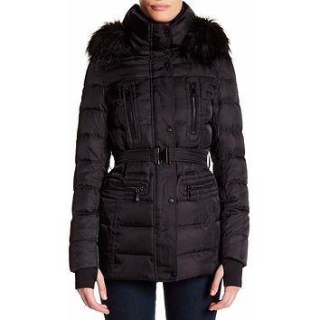 Vince Camuto women's Black Faux Down & Feather Jacket with Faux Fur Trim size M