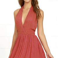 Raga Be Mine Coral Pink Sequin Mini Dress