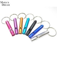 Mixed Aluminum Emergency Survival Whistle Keychain For Camping Hiking Random Color