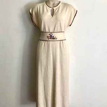 Vintage 1970s 'Elgora' cream knit dress with patterned rib trims and matching embroidered tie belt / Made in Italy