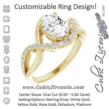 Cubic Zirconia Engagement Ring- The Kwan Lee (Customizable Oval Cut Design with Semi-Accented Twisting Infinity Bypass Split Band and Half-Halo)