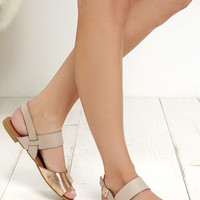 Perfect Attendance Rose Gold and Beige Flat Sandals