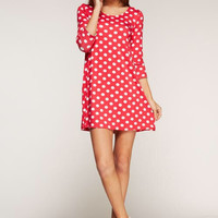 Polka Dot Tunic with Solid Cuff - Hot Pink