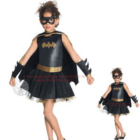 Fancy Girl Dress Fantasia kids Batman Costume Superhero Party Dresses Halloween Costumes YY074
