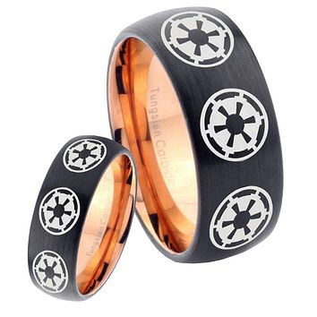 His Hers Multi Empires Dome Tungsten Rose Gold Mens Wedding Band Set