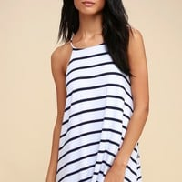Step Right Up Navy Blue and White Striped Swing Dress