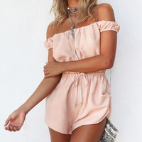 Rompers Womens Jumpsuit 2016 Summer Sexy Off the Shoulder Solid Playsuit Casual Short Mini Overalls Bodysuit Plus Size D1
