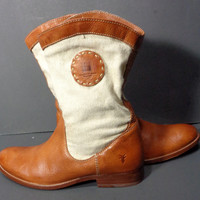 Frye 77895 Melissa Canvas Brown Leather Motorcycle Boots Women's Size 9