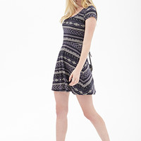 FOREVER 21 Tribal Print Fit & Flare Dress Black/Cream
