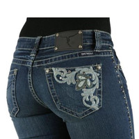 Stretchy Hip Hugger Bootcut Rhinestones Embellished Jeans (Size 7 through 15)