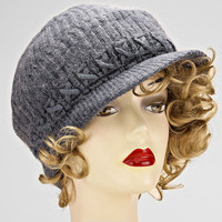 Gray Knitted Winter Beanie Hat