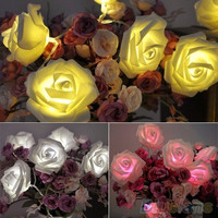 20 pcs LED Rose Flower Fairy Wedding Garden Party Christmas Decoration String Lights = 1932737924