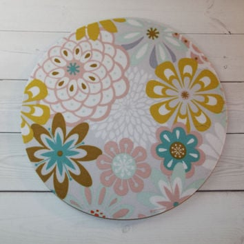 Floral teal, yellow, pink - Mouse Pad mousepad / Mat - round or rectangle -  Computer Accessories Coworker Gifts Office