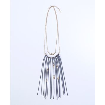 Soulmate Fringe Necklace - Gold/Gray