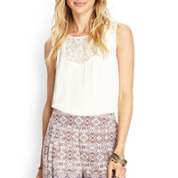 LOVE 21 Abstract Geo Pleated Shorts Cream/Brown