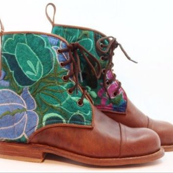Turquoise Flower Boot