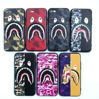 Shark camouflage 3D bape Soft phone cases for iphone 5 5S SE 6 7 plus 8 8Plus X for sumsung galaxy s8 S7 edge S9 S9plus Note8