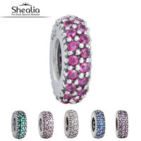 Shealia CZ Pave Spacer Beads Fit Pandora Charms Bracelet 925 Sterling-Silver-Jewelry Stopper For Jewelry Making DIY Accessories