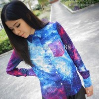 Wholesale CS Tenchi universe galaxy tie-dye marine wind gradient BF long sleeve shirt
