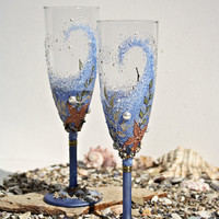 Beach Wedding Champagne Glasses Toasting Flutes Hand Painted set of 2 Swarovski Pearls