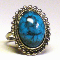 Turquoise Ring w Bezel Set Cabochon in by TheVintageBlingBox