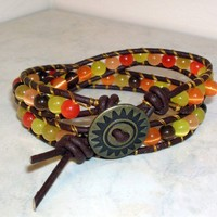 Brown yellow and orange cats eye double wrapped leather bracelet