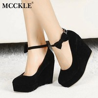 MCCKLE Round Toe Bowtie Pumps