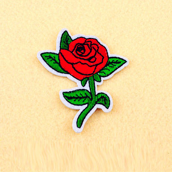 Rose patch - Iron on patch -Sew On patch - Embroidered Patch (Size 6.2cm x 7.6cm)