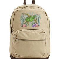 Sea Turtle Bag, Sea Turtle Bookbag, Sea Turtle Laptop Bag, Tropical Sea Turtle Sketch Embroidered Canvas Backpack with Leather Accents