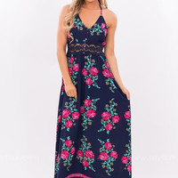 Fashion Flower Print Halter Sleeveless Lace Stitching Chiffon Maxi Dress