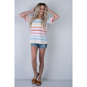 Summer Vibes Striped V Neck Top (S-XL)