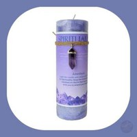 """Spirituality"" Pillar Candle with Amethyst Pendant"