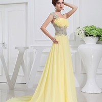 Yellow long prom dress One-shoulder sleeveless floor-length  bridesmaid slip dress Evening/Party/Homecoming/cocktail //Formal dress WE-006