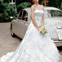 Satin Ball Gown with Ruffled Organza Underlay - David's Bridal - mobile