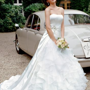 Satin Ball Gown with Ruffled Organza Underlay - David's Bridal- mobile