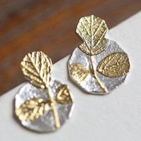 14k Gold Plated Sterling Silver Leaf Earring, Handmade Leaf Ear Studs, Bridesmaid Earrings, Bridal, Wedding, Gift