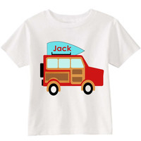 Jeep Canoe on Personalized White T-Shirt